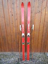 """Vintage Wooden 70"""" Long RED Finish Skis with Metal Bindings"""