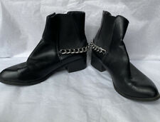 F&F- Size UK 5- Black Chain Faux Leather Ankle Boots