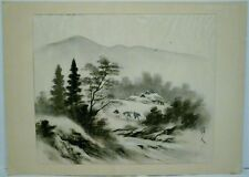 Vintage Suiboku No 6 Ink Wash Painting Man Horse Houses River Scenery