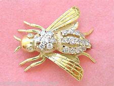 "ESTATE .70ctw DIAMOND BODY 18K YELLOW GOLD WINGED QUEEN HONEY BEE 1"" PIN BROOCH"