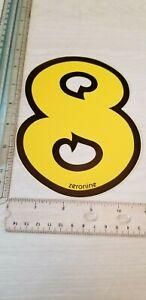 "old school ZeroNine BMX Yellow & Black number plate # 8 NOS 6.5"" big fat wide"