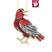 Betsey Johnson Crystal Rhinestone Pigeon Bird Pendant Chain Necklace/Brooch Pin