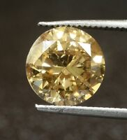 GIA loose certified 2.94ct I3 Natural Fancy Yellow Brown brilliant diamond