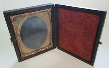 Antique Hinged Travel Folding Photo Frame with Latch, Copper Foil Daguerrotype