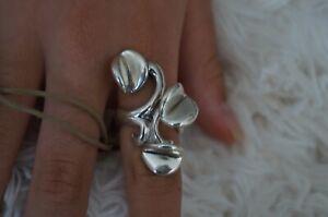 NWT Uno De 50 IBISCUS Stamped Silver Statement Ring 7.5 L UNIQUE