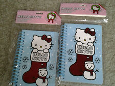 HELLO KITTY PAIR of 60 sheet SPIRAL CHRISTMAS NOTEBOOKS great 4 STOCKING STUFFER