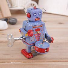 Vintage Metal Tin Drumming Robot Clockwork Wind Up Tin Toy Collectible GOE