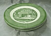 "Royal USA China COLONIAL HOMESTEAD Green Set 4-9 7/8"" Dinner Plates Mid Century"