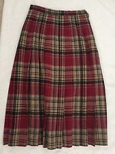 Vintage PENDLETON 100% Wool Beige Blue Red TARTAN Plaid Pleated Skirt Long 6 8