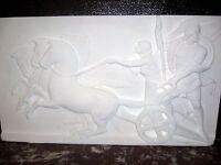 GRAND bas relief NEUF char avec chevaux 90X50cm