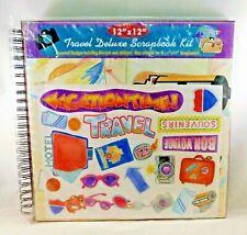 """Travel Scrapbook Kit Photo Album Wire Bound 12"""" x 12"""" Paper Die Cuts Stickers"""