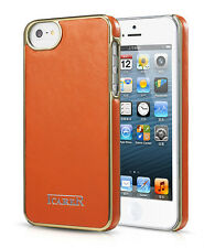 Genuine ICARER ELECTROPLATING BACK COVER  Real Leather for Apple Iphone 5 ORANGE