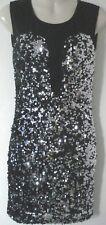 Women's Rare Black Metallic Sequin Sparkle Embellished Stretch Dress 8 UK New
