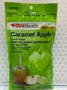 2 packs CVS Limited Edition Carmel Apple Flavor Menthol Cough Drops 60 total
