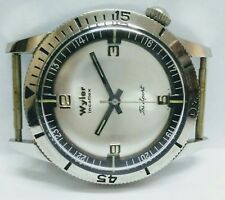 new old stock 1970's vintage wyler diver try sport incaflex men wrist watch