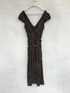 🔹🔸 BNWT Seed Heritage Viscose Striped Long Jumpsuit Dress Black Tuscan Size 10