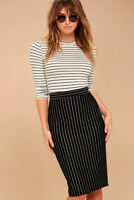 Pinstripe Pencil Skirt High Waist Stretch Knee Midi Office Work Black or Navy