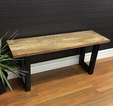 MIA INDUSTRIAL BENCH W/ BLACK LEGS STOOL SEAT CHAIR MANGO WOOD TIMBER OUTDOOR