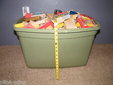 LARGE TOTE OF WOODEN BUILDING BLOCKS: VINTAGE, COLORED, SHAPED AND USED