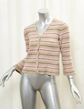MARNI Womens Beige+Pink Striped Long-Sleeve Cardigan Button-Down Sweater 44/8