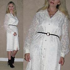 Vtg 60 KRIST Sheer Floral LACE crochet Scalloped cutout White Wedding DRESS