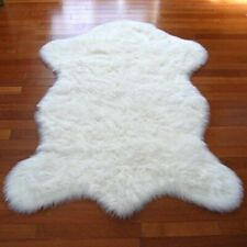 Shag Carpet Premium Faux Fur White Sheepskin Area Rug New 4'x6' Pelt Shape