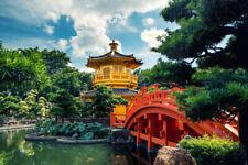 Golden Pavilion Temple With Red Bridge Nan Lian Garden Hong Kong Photo Art Print