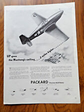 1943 Packard Ad WW 2 Theme The Bullet-Like North American Mustang Fighter