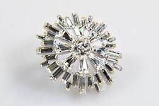 Sterling Silver Jay Flex Crystal Flower Brooch Pin Vintage