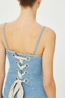 Topshop BOUTIQUE Lace Corset Back Denim Slip Dress UK 8 EU 36 BNWT