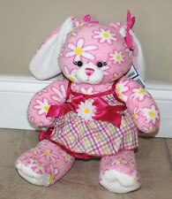 "Build a Bear Pink Floral Daisy Bunny Rabbit Stuffed Animal 16"" pink dress"