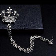 Crown Coat Suit Tassel Chain Qk Men Clear Crystal Rhinestone Brooch Lapel Pin