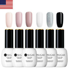 6Pcs 15Ml Glitter Uv Gel Nail Polish Set Soak Off Black White Manicure Ur Sugar