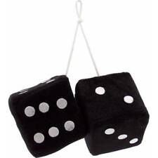 New Black Plush Fuzzy Mirror Dice w/ White Dots Car Auto Accessories Fashion