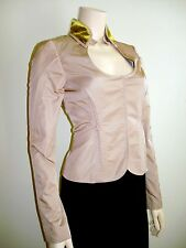 GUCCI COUTURE SILK BEIGE SEXY FITTED JACKET VELVET COLLAR 40 US 4 6 NEW NWT$3100