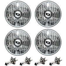 "5-3/4"" Crystal Clear Halogen Headlight Metal Headlamp 60/55W Light Bulbs 4pc Set"