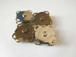 4x Sew on in square magnetic metal snap clasp closure bag making 15mm