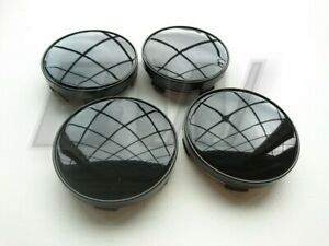 4x 60MM ALLOY WHEEL CENTRE CAPS HIGH GLOSS BLACK FINISH UNIVERSAL FITTING