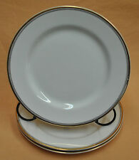 "JOHNSON BROS-ENGLAND 8"" China Salad Plate w/Gold Edge Black Pin Stripe Gold Pin"