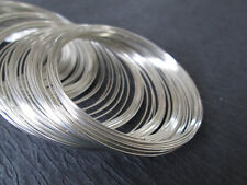 100 x Steel Ant Silver Bracelet Memory Wire Coils 55mm x 0.6mm cuff bangle loop