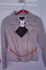IMAN Platinum Chic Leather Suede Moto Jacket - Size Sm/Med $189.95