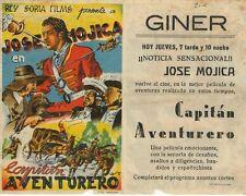 Programa de CINE. Título: CAPITÁN AVENTURERO. Jose Mojica.