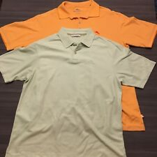 Lot of 2 Tommy Bahama Mens Pima Cotton Polos Orange and Green Embroidered Sz XL