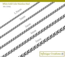 Stainless Steel Silver Round Box Chain Bracelet And Necklace Men Women 7