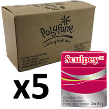 Sculpey Polymer Clay - DEEP RED PEARL - Box of 5 x 57g - Just $3.30 per Block