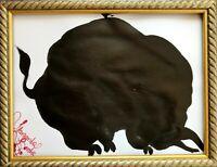 Margarita Bonke Malerei PAINTING black schwarz Stier shadow Bull A3 dark alchemy