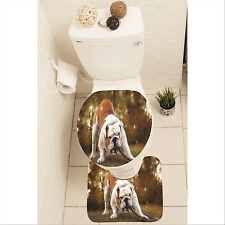 Dog Puppy Bulldog Set of 3 Bathroom Rug Set Mat Toilet Lid Cover y70 y0113