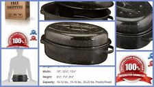 """Large Turkey Granite Ware Oven Roasting Cooking 18"""" Oval Roaster Pan With Lid"""