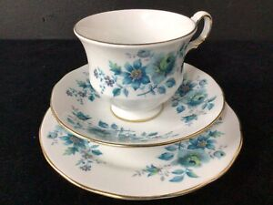 Queen Anne Bone China English 3 Piece Blue Flower Tea Set #565