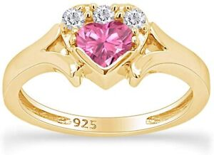 Simulated Tourmaline Heart Promise Ring 14k White Gold Over Sterling